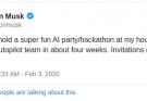 Elon Musk organizes 'party hackathon' to complete Tesla's autonomous driving appeal